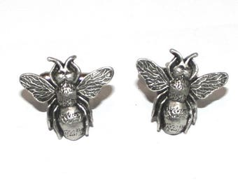 Bumble Bee Cufflinks in Fine English Pewter, Handmade, gift boxed, (hin)