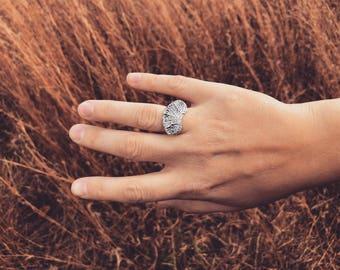 deer vertebral epiphysis flat ring, sterling silver, kaya tinsman, bone jewelry