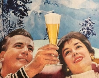 Great retro Winter scene from 1959 for Schlitz Beer.