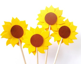 Set of 24Pcs - Sunflower Cupcake Toppers, Party Picks, Desserts, Wedding Decorations, Baby Showers, Birthday Partys