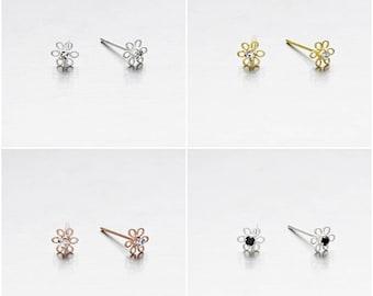 925 Sterling Silver Earrings, Flower Earrings, Crystal Earrings, Gold Plated, Rose Gold Plated, Stud Earrings (Code : EG59)