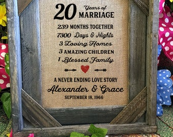 Framed 20th Wedding Anniversary Gift | Love | Valentines Day | Personalized | Burlap | Parent's Anniversary Gift | Grandparent Gift | 258