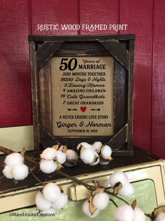 Framed 50th Wedding Anniversary Gift | Love | Valentines Day | Personalized | Burlap | Parent's Anniversary Gift | Grandparent Gift | 258
