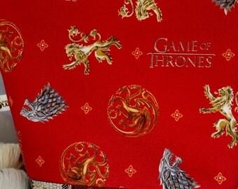 Large WIP Zipper Wedge Project Bag, Game of Thrones, Got, Lannister, Targaryen, Stark, Arryn, Baratheon, Greyjoy, Martell, Tully, Tyrell
