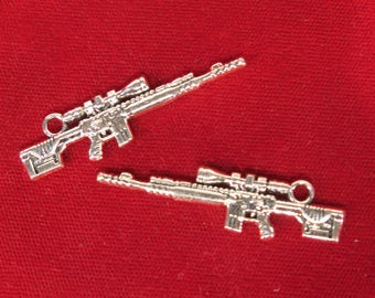 """Large! 5pc """"rifle"""" charms in antique silver style (BC1254)"""