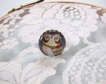 Ring cabochon round OWL with glasses