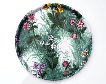 Vintage Thetford serving tray with a flower pattern