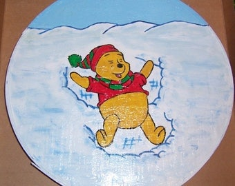 Winnie the Pooh Snow Angel Hat Box Top Folk Art