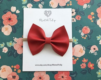Red Faux Leather Bow on Headband or Hair Clip Baby Toddler Kids