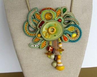 Soutache necklace - Soutache jewelry- Glamour jewelry - Chunky necklace - Big bold jewelry - Large jewelry - Statement