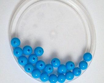 """My small batch 1 euro"" turquoise blue acrylic beads"