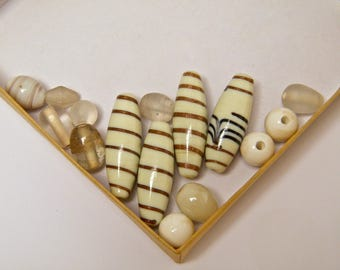 "Mix, ""my little hodgepodge"" beads, glass beads, tubes and shapes, ecru and gold"