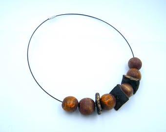 Collier rustique - grès  artisanal - céramique artisanal - bijou rustique - pièce unique - les bijoux de Francesca