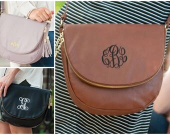 Monogrammed Sienna Tassel Purse, Camel, Black, Blush, Crossbody purse, Monogrammed purse