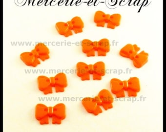 LOT 10 buttons bow orange 13 * 18 mm 2 holes