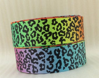 Ribbon grosgrain leopard Panther multicolored rainbow 22mm sold by the meter animal Fawn spots
