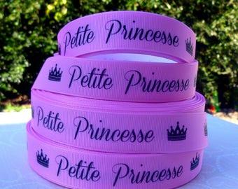 Princess little grosgrain Pink Ribbon black 22mm the meter Crown