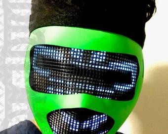 Glow in Dark Robot Mask - Electric FX Head LED Mask Light Up Mask for Scifi Robot Costume Glow Cosplay Rave Edm Costume Cyber Helmet DJ Gig