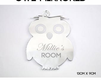 Personalised Engraved Name Plaque for Boys and Girls Doors. Owl Theme for Child's Bedroom or Nursery   --- L1060