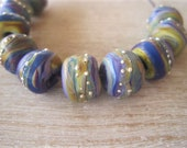 Glass Lampwork Bead set of 10 little Etched Raku Purple Caramel Brown with fine silver