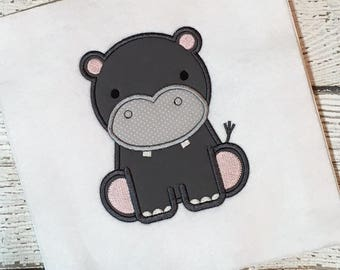Hippo Applique Design - Hippo Embroidery Design - Zoo Applique - Animal Applique - Safari Applique - Nursery Applique