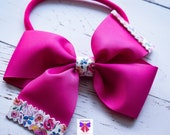 Pink Floral grosgrain bow - Baby / Toddler / Girls / Kids Headband / Hairband / Barrette / Hairclip /Birthday / Party / Summer / Cakesmash