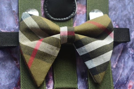 Kids Army Green Tartan / Plaid Butterfly / Floppy Bow Tie  for Baby, Toddlers and Boys (Kids Bow Ties) with Braces / Suspenders
