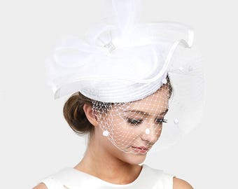 2018 White Cream Crystal Wedding Dress Feather Accented Birdcage Veil Dressy Hat Women Church Hat New