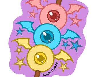 Dango Monster Candy, Vinyl Art Sticker by Angel Hawari, Kawaii, Pastel Rainbow, Monster Art, Candycoated, Candyland, Artist Sticker