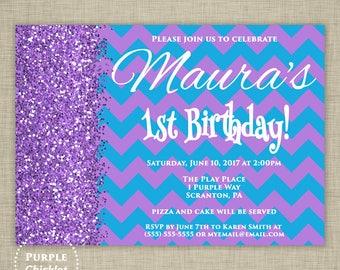 1st 16th 30th Any Age Purple Birthday Invitation Cyan Aqua Blue Glitter Surprise Party Invite Purple Printable Adult Kid Party Invite 357
