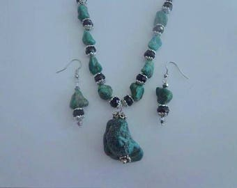 Turquoise Nuggett Necklace with Matching Turquoise Earrings, One of a Kind Turquoise Necklace Set