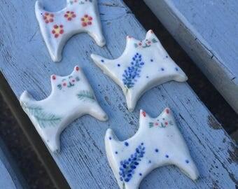 Porcelain Cat Brooch - Cat jewllery - Cat Art - Cat gift