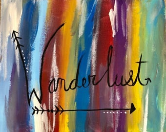 Wanderlust hand made acrylic painting on canvas