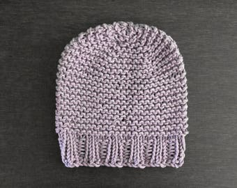 Chunky Knit Hat Thick Winter Beanie in Purple-Gray Cotton Blend | CELESTIAL