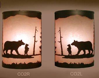 Pair of 2 Rustic Light  Bear Sconce  Lamp, Cabin Decor Lamp Left & Right Facing
