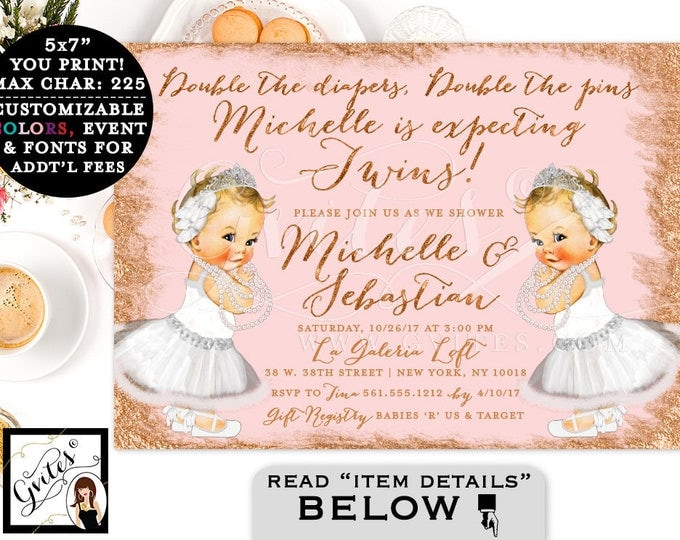 Twins baby shower Rose gold baby shower invitation, princess baby twin girls invitations, Swan lake digital file, printable, diy, 7x5.