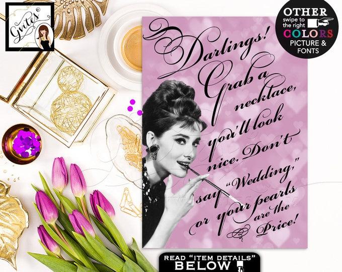 Don't say wedding Audrey Hepburn pearl necklace game, breakfast at bridal shower games, purple lavender Audrey. 4x6 or 5x7 DIGITAL FILE