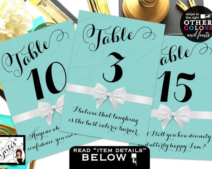 Breakfast at Tiffany's Table Numbers, Party Theme, table numbers with different Audrey Hepburn quotes or your own text. 4x6 or 5x7.
