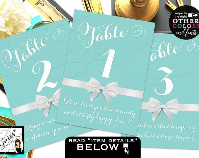 Table Numbers Wedding, table numbers with quotes, blue and white, breakfast at bridal shower themed, DIGITAL FILE ONLY! 4x6 or 5x7.