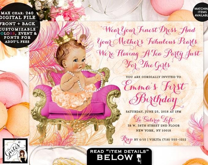 Pink and Orange First Birthday Invitation, pearls vintage princess baby girl invitations tea party 1st birthday 7x5, Digital DIY