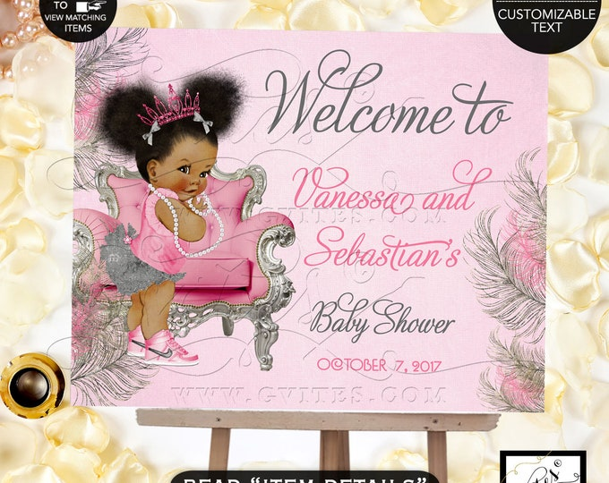 Pink and Silver Baby Shower Welcome Sign, Princess Decoration, Vintage Baby Girl African American Afro Puffs Pink Tiara #TC008PSSS