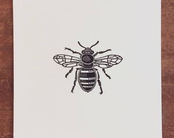 Bee Linocut Print // Handmade // Original