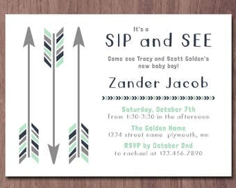 Tribal Arrows Sip and See Invitation Boy Meet and Greet Invitation Baby Shower Invite Baby Sprinkle Shower Aztec Mint Navy White Gray