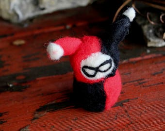Needle Felted Harley Quinn // Felted People // Fiber Art // Gifts for Her  // Merino Wool // Punk // Home Decor // Kawaii