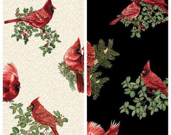 All-Over Print - Red Cardinal Bird Christmas Cotton Fabric - [[by the half yard]]