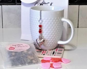 Valentine Tea Gift Set including Beaded Crystal Heart Infuser with Hand Blended Loose Tea and Sugar Slices
