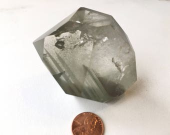 "Stunning Chlorite phantom Quartz DT point 3"" 150g 17rf1229B"