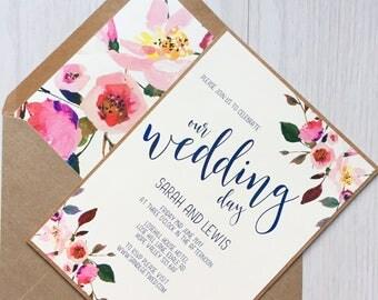 Kraft wedding invitation - blush and navy