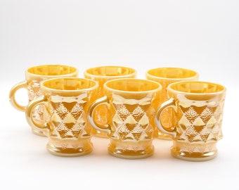 Six Fire King Mugs, Fire King Kimberley Peach Anchor Hocking Mugs, Retro Mugs, Vintage Mugs, Made in USA, 1970s Drinkware
