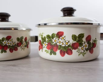 Vintage Strawberry Cuisine Ware / Pair of Cooking Pots